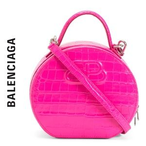 Balenciaga Vanity Round Croc Embossed Bag NWT